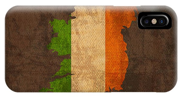 Map Of Ireland With Flag Art On Distressed Worn Canvas IPhone Case