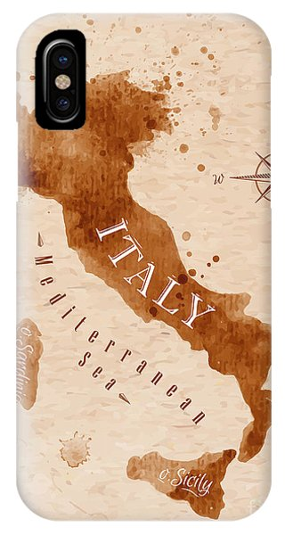Planet iPhone Case - Map Of Italy In Old Style, Brown by Anna42f