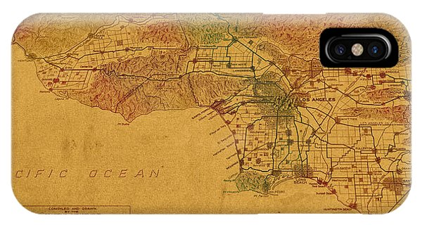 Tint iPhone Case - Map Of Los Angeles Hand Drawn And Colored Schematic Illustration From 1916 On Worn Parchment by Design Turnpike