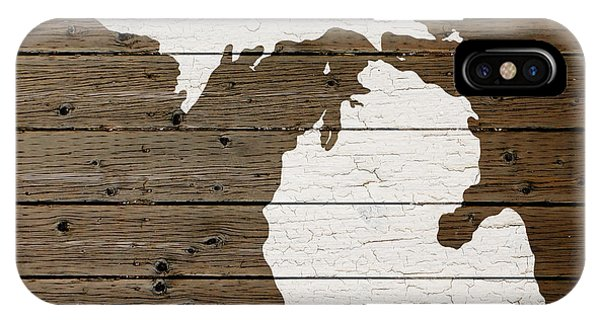 Map Of Michigan State Outline White Distressed Paint On Reclaimed Wood Planks IPhone Case
