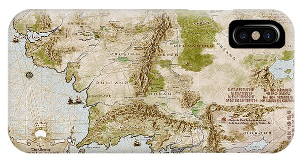 iPhone Case - Map Of Middle Earth by Anthony Forster