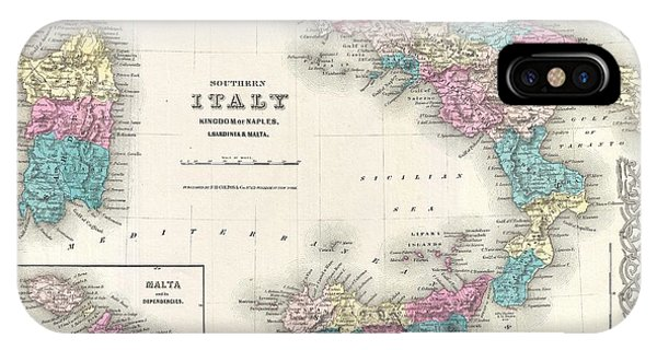 iPhone Case - Map Of Southern Italy Sicily Sardinia And Malta by Paul Fearn