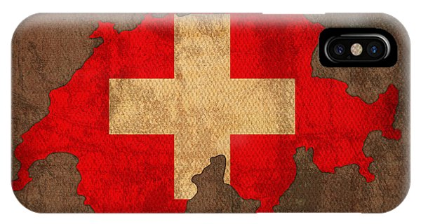 Patriotic iPhone Case - Map Of Switzerland With Flag Art On Distressed Worn Canvas by Design Turnpike