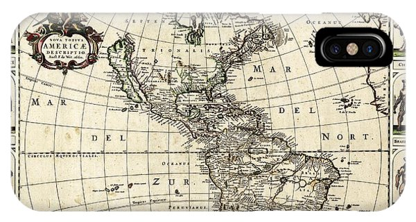 South Pacific Ocean iPhone Case - Map Of The Americas by Library Of Congress, Geography And Map Division