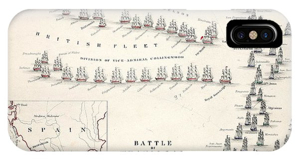 Map Of The Battle Of Trafalgar IPhone Case