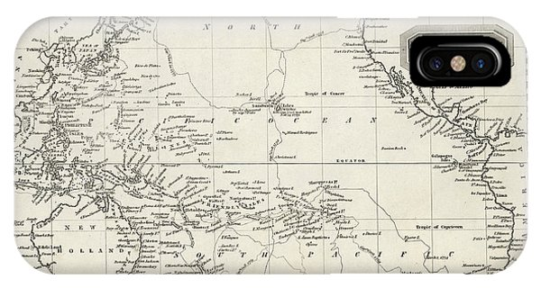Pacific Ocean iPhone Case - Map Of The Pacific Ocean On Mercator's by Mary Evans Picture Library