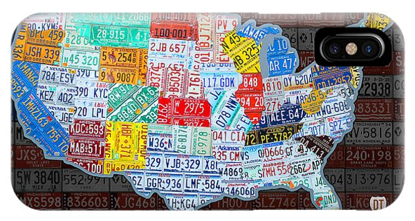 Map Of The United States In Vintage License Plates On American Flag IPhone Case
