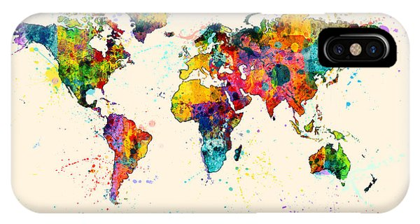 Planets iPhone Case - Map Of The World Map Watercolor by Michael Tompsett
