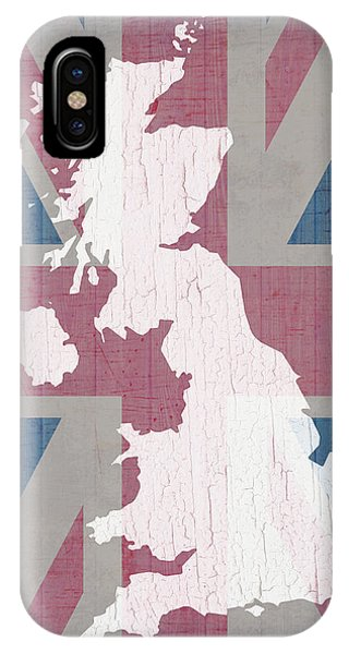 Northern Scotland iPhone Case - Map Of United Kingdom And Union Jack Flag On Barn Wood by Design Turnpike