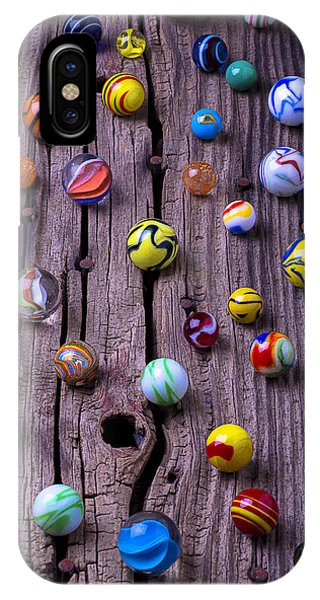 Novelty iPhone Case - Marbles On Wood by Garry Gay