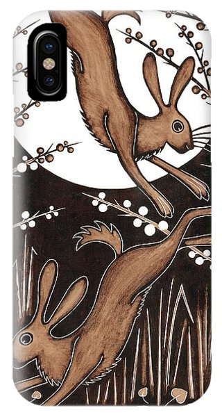 March Hares, 2013 Woodcut IPhone Case