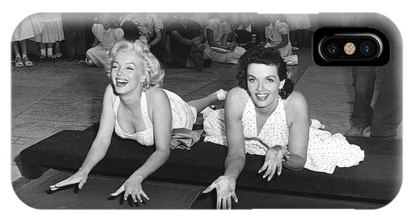 Movie iPhone Case - Marilyn Monroe And Jane Russell by Underwood Archives