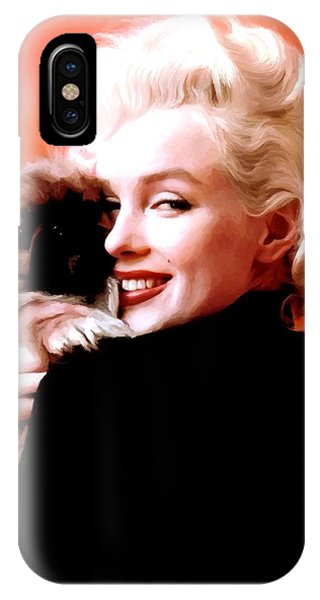 Marilyn Monroe And Pekingese Portrait IPhone Case