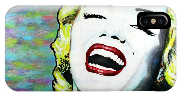 IPhone Case featuring the painting Marilyn Monroe Portrait Bright Laugh by Bob Baker