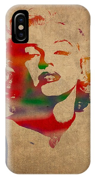 Marilyn Monroe Watercolor Portrait On Worn Distressed Canvas IPhone Case