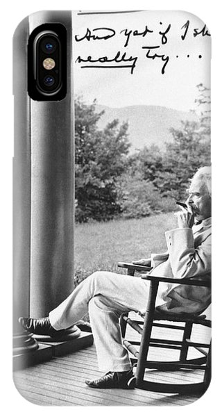 Porches iPhone Case - Mark Twain On A Porch by Underwood Archives