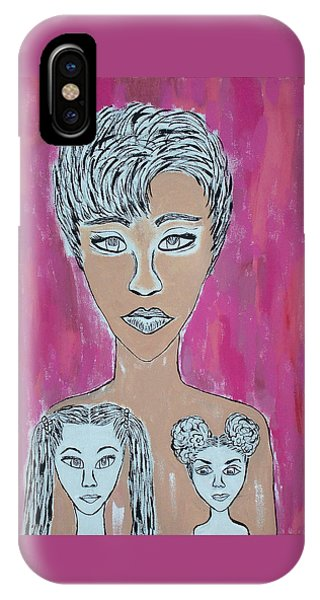 Mother And Daughters Painting And Drawing IPhone Case