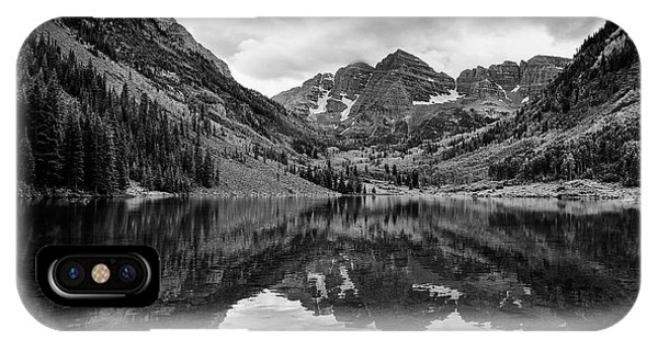 Maroon Bells - Aspen - Colorado - Black And White IPhone Case
