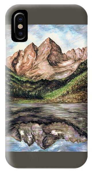 Maroon Bells Colorado - Landscape Painting IPhone Case