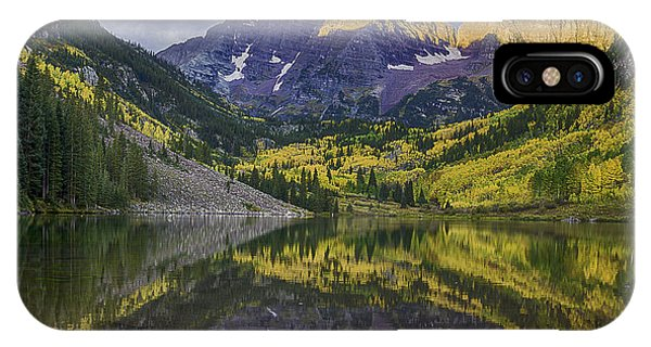 IPhone Case featuring the photograph Maroon Bells Morning Sun by Bitter Buffalo Photography