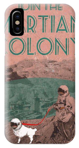 Martian Colony Mars Travel Advertisement IPhone Case
