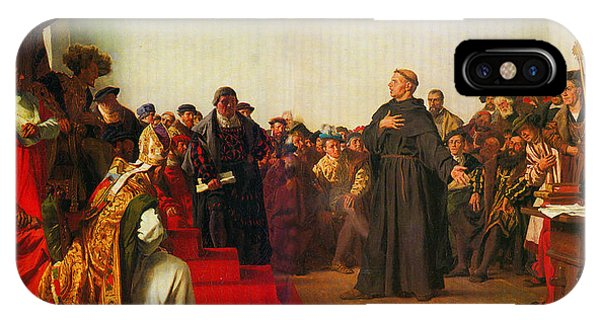 IPhone Case featuring the painting Martin Luther Before The Diet Of Worms by Celestial Images