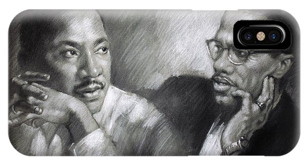Rights iPhone Case - Martin Luther King Jr And Malcolm X by Ylli Haruni