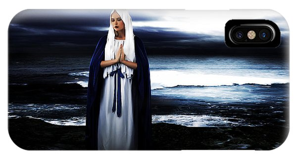 Mary Mother Of God iPhone Case - Mary By The Sea by Cinema Photography