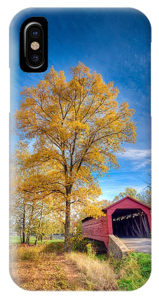 Maryland Covvered Bridge In Autumn IPhone Case