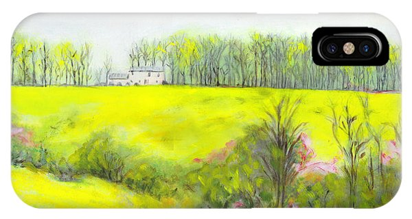 IPhone Case featuring the painting Maryland Landscape Springtime Rt40 East Original Painting by G Linsenmayer