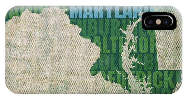 Maryland Word Art State Map On Canvas IPhone Case