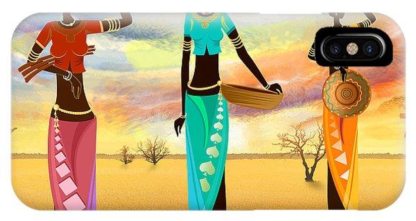Masai Women Quest For Grains IPhone Case