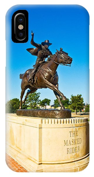 IPhone Case featuring the photograph Masked Rider Statue by Mae Wertz