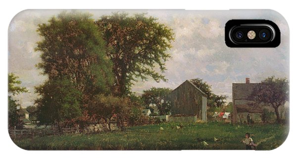 New England Barn iPhone Case - Massachusetts Landscape, 1865 by George Snr. Inness