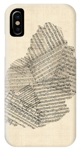 Mauritius Old Sheet Music Map IPhone Case