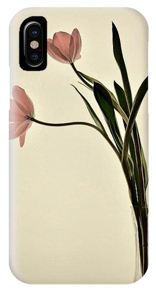 Mauve Tulips In Glass Vase IPhone Case