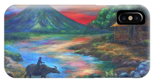 mayon sunset-repro from Amorsolo's work Phone Case by Manuel Cadag