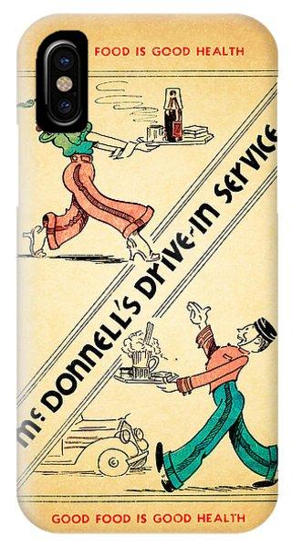 Menu iPhone Case - Mcdonnells Drive In 1948 by Mark Rogan