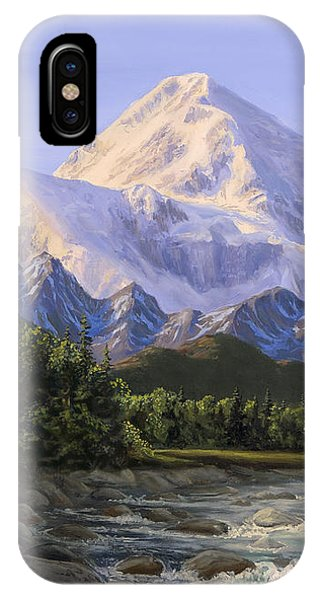 Majestic Denali Mountain Landscape - Alaska Painting - Mountains And River - Wilderness Decor IPhone Case