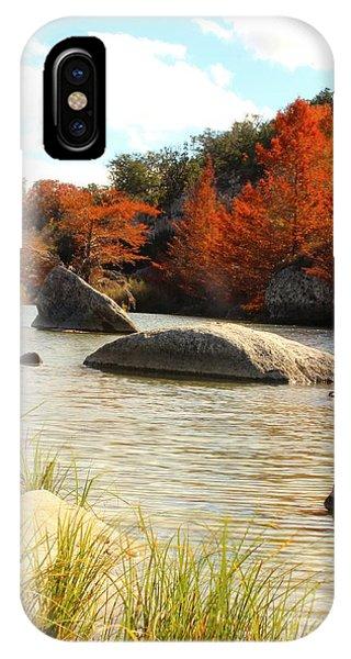Fall Cypress At Bandera Falls On The Medina River IPhone Case