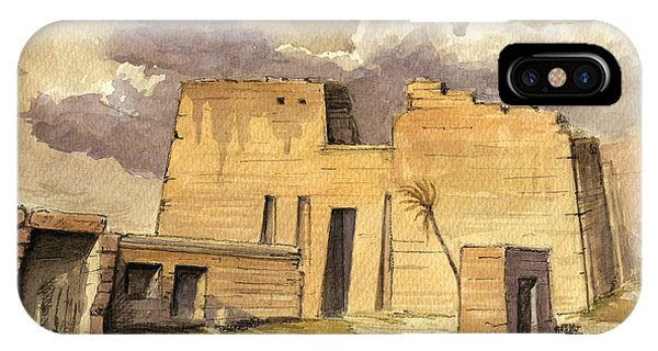 Temple iPhone Case - Medinet Temple Egypt by Juan  Bosco