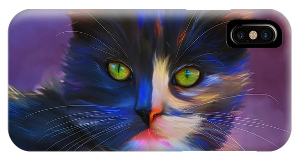 Meesha Colorful Cat Portrait IPhone Case