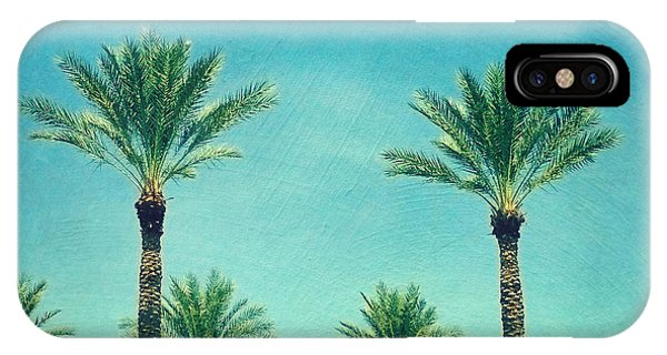 Travel iPhone Case - Meet Me In Paradise- Palm Trees With Typography by Sylvia Cook