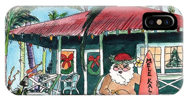 Mele Kalikimaka Hawaiian Santa IPhone Case