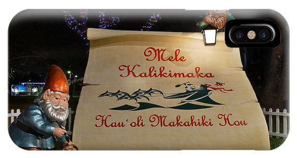 Mele Kalikimaka Sign And Elves IPhone Case