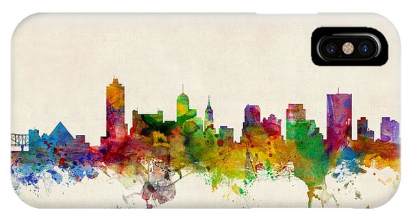 United States iPhone Case - Memphis Tennessee Skyline by Michael Tompsett