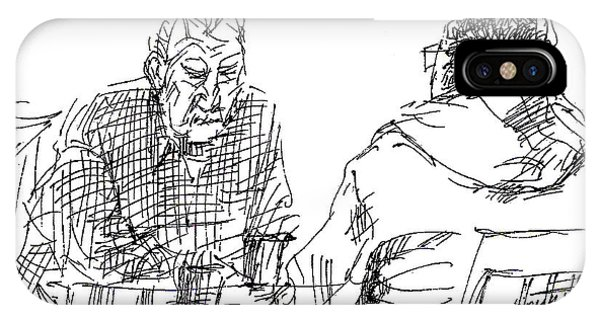 Sketch iPhone Case - Men At The Cafe by Ylli Haruni