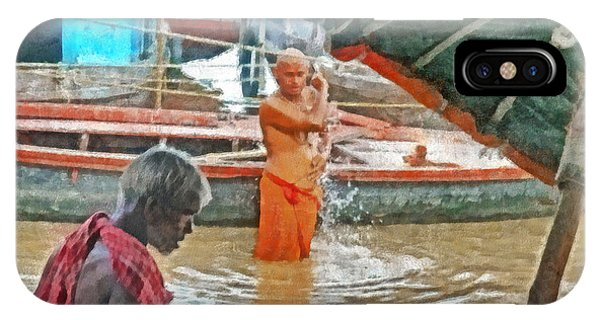 Men Bathing In The Ganges River IPhone Case