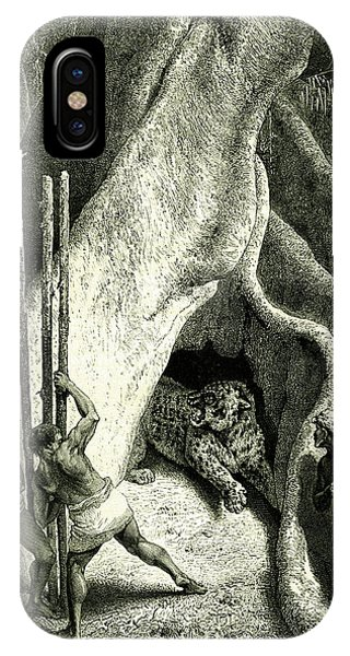 Men Hunting A Jaguar Phone Case by Collection Abecasis
