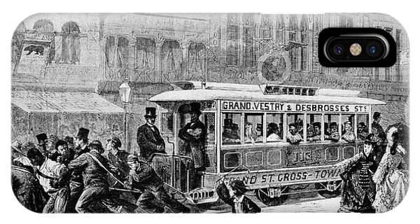 Trolley Car iPhone Case - Men Pulling A Tram by Cci Archives